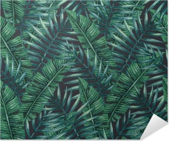 Watercolor tropical palm leaves seamless pattern. Vector illustration. Poster