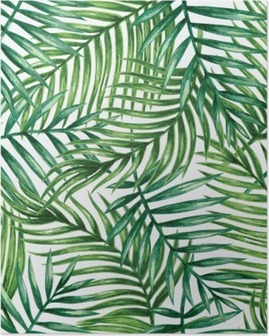 Póster Watercolor tropical palm leaves seamless pattern. Vector illustration.
