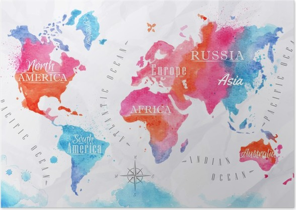 Watercolor world map pink blue poster pixers we live to change watercolor world map pink blue poster gumiabroncs Image collections