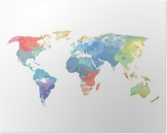 Watercolor World Map Poster Poster