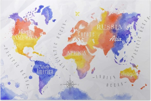 Watercolor world map red purple poster pixers we live to change watercolor world map red purple poster accesories and objects gumiabroncs Choice Image