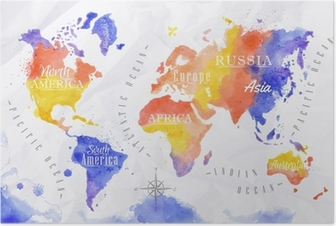 World map in watercolor gray poster pixers we live to change watercolor world map red purple poster gumiabroncs Gallery