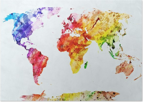 Watercolor world map poster pixers we live to change watercolor world map poster styles gumiabroncs Choice Image