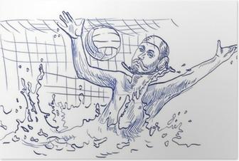 Poster Waterpolo, doelman - hand tekenen