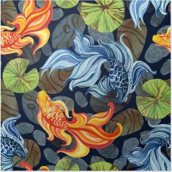 Poster Waterverf het Aziatische goudvissen