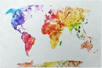 Poster Waterverf wereldkaart