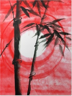 Poster Waterverfinkt Japanise bamboe op zonsondergang