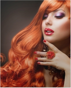 Wavy Red Hair. Fashion Girl Portrait Poster