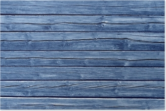 Weathered blue color log house wall. Poster