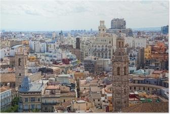 Poster Weergave van het historische centrum van Valencia