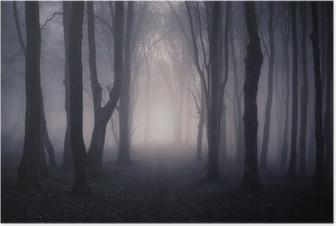 Poster Weg door een donker bos bij nacht