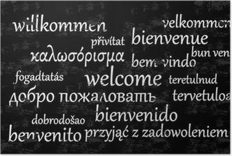 Poster Welkom geschreven in verschillende talen op een schoolbord