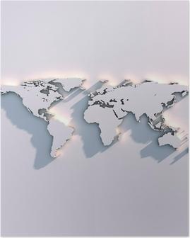 Poster Wereldkaart reliëf op de muur