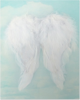 White angel wings on textured sky background Poster