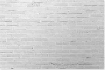 Poster White grunge bakstenen muur textuur achtergrond