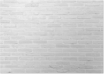 White grunge brick wall texture background Poster