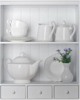 White shelf with vintage porcelain tableware Poster