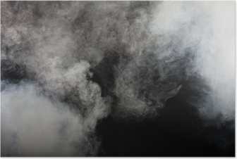 White smoke on black background. Isolated. Poster