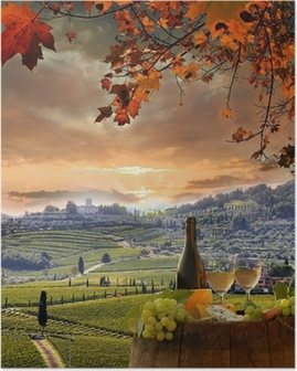 White wine with barell in vineyard, Chianti, Tuscany, Italy Poster