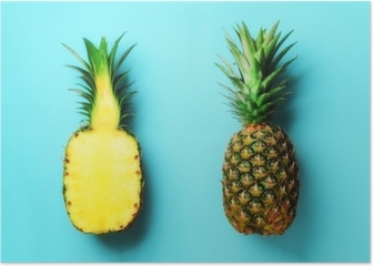 Whole pineapple and half sliced fruit on blue background. Top View. Copy Space. Bright pineapples pattern for minimal style. Pop art design, creative concept Poster