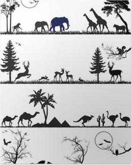 Poster Wild dier achtergrond set, vector