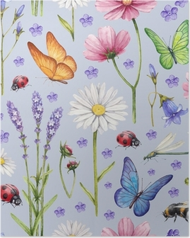 Wild flowers and insects illustration. Watercolor summer pattern Poster