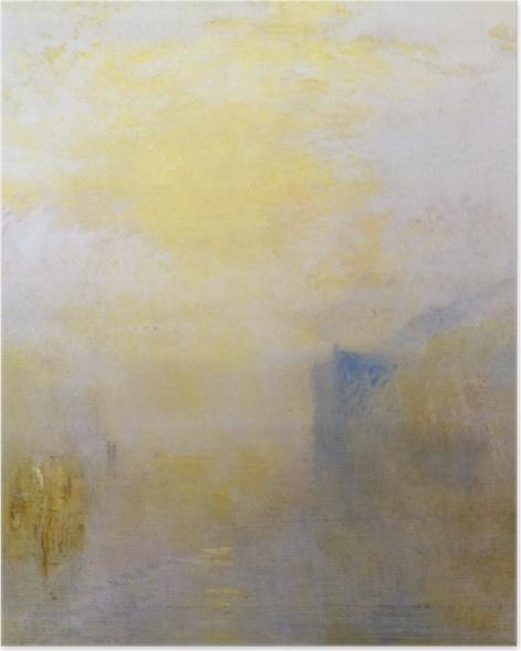 Poster William Turner - Lever de soleil avec un bateau entre bouts de terre - Reproductions