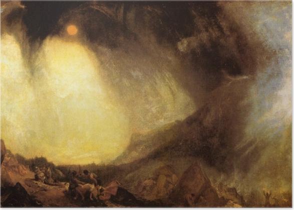 Póster William Turner - Tormenta de nieve: Aníbal y su ejército cruzando los Alpes - Reproducciones