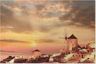 Windmills in Santorini against sunset, Greece Poster