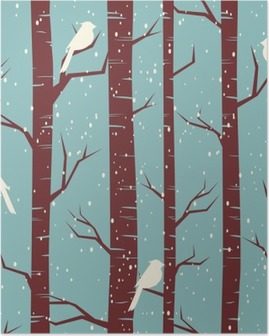 Winter Forest Seamless Pattern Poster