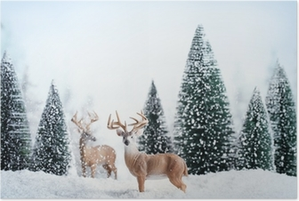 Winter landscape with deers,snow and fir tree. Poster