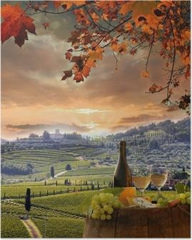 Poster Witte wijn met barell in de wijngaard, Chianti, Toscane, Italië