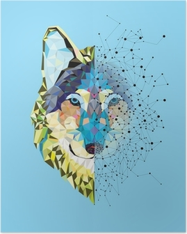 Wolf head in geometric pattern with star line vector Poster