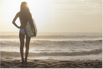 Woman Bikini Surfer & Surfboard Sunset Beach Poster