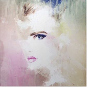 woman portrait .abstract watercolor .fashion background Poster