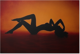 woman sexy silhouette lying at red orange background Poster