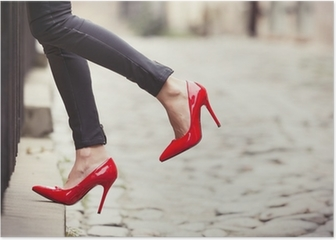 Woman wearing black leather pants and red high heel shoes Poster