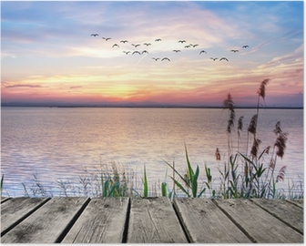 Wooden jetty at sunset Poster
