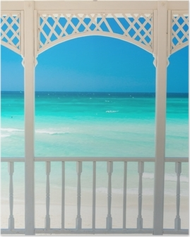 Wooden terrace with a view of a tropical beach in Cuba Poster