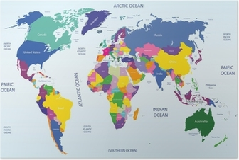 world geographical and political map Poster