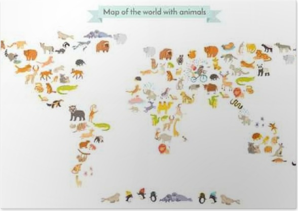 World Mammal Map Silhouettes Animals World Map Isolated On White - World map silhouette poster