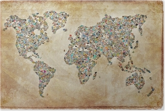 Poster World Map's, vintage textuur