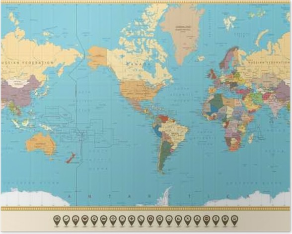 World map america centered and map pointers retro color poster world map america centered and map pointers retro color poster gumiabroncs Choice Image