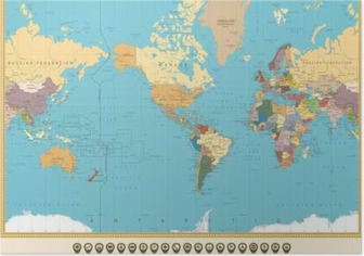World map actual new version with south sudan poster pixers world map america centered and map pointers retro color poster gumiabroncs Images