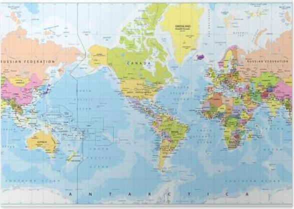 World map america in center bathymetry poster pixers we world map america in center bathymetry poster gumiabroncs Image collections