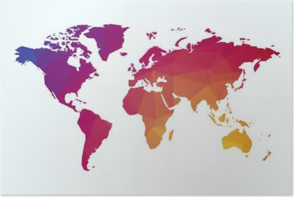 World map color geometric shape texture poster pixers we live world map color geometric shape texture poster gumiabroncs Images