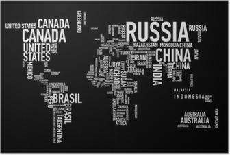 World map: countries of wordcloud Poster