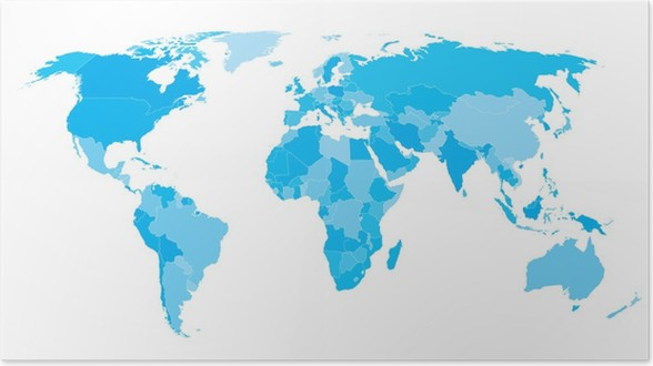 World map countries white outline cyan eps10 vector poster pixers world map countries white outline cyan eps10 vector poster publicscrutiny Images