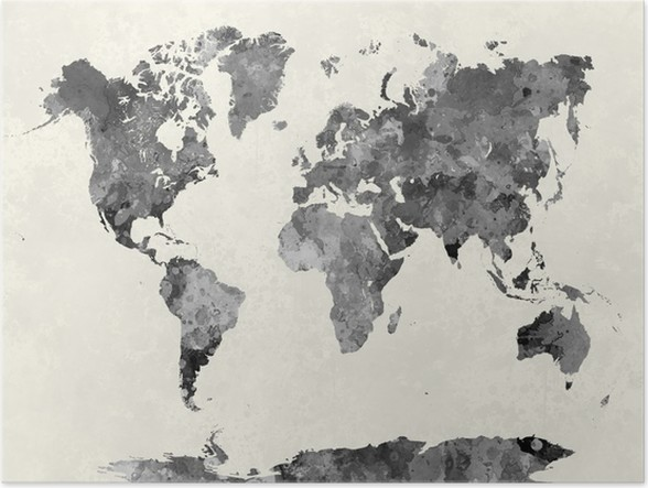Poster watercolor world map world classic wall map with flags mural world map in watercolor gray poster other gumiabroncs Images