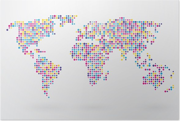 World map made up of small colorful dots poster pixers we world map made up of small colorful dots poster gumiabroncs Choice Image